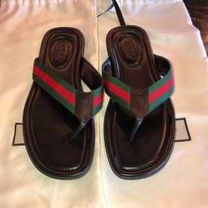 Gucci web and leather web and leather sandal